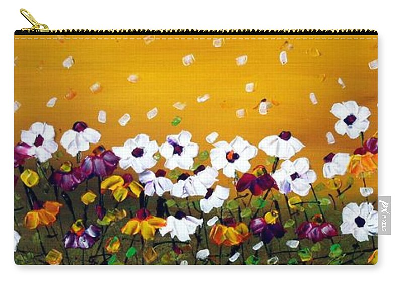 Flowers Carry-all Pouch featuring the painting Flowers In The Sunset by Luiza Vizoli