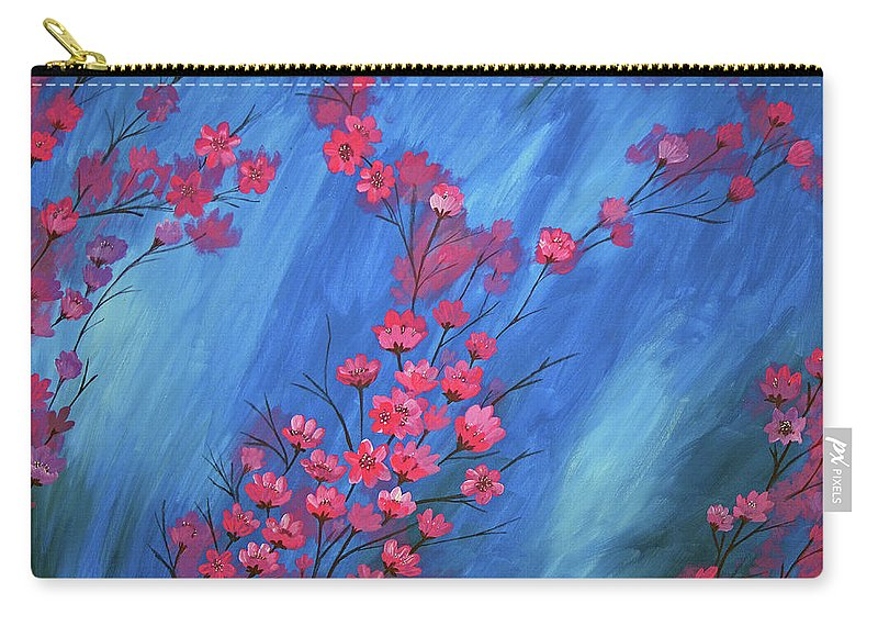 Flowers Carry-all Pouch featuring the painting Flowers by Laxmi Khire