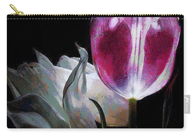 Flowers Lit Carry-all Pouch featuring the digital art Flowers Lit by Catherine Lott