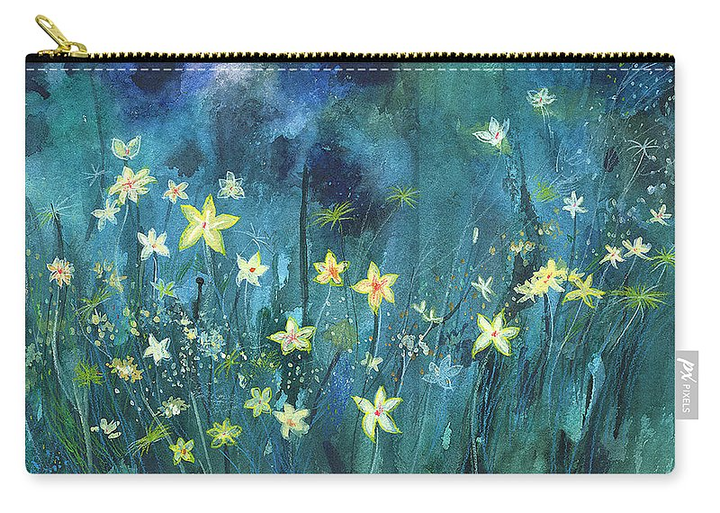 Landscape Carry-all Pouch featuring the painting Flowers N Breeze by Anil Nene