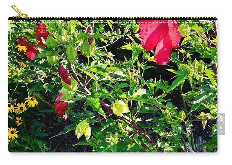Carry-all Pouch featuring the photograph Flowers Of Bethany Beach - Hibiscus And Black-eyed Susams by Kim Bemis