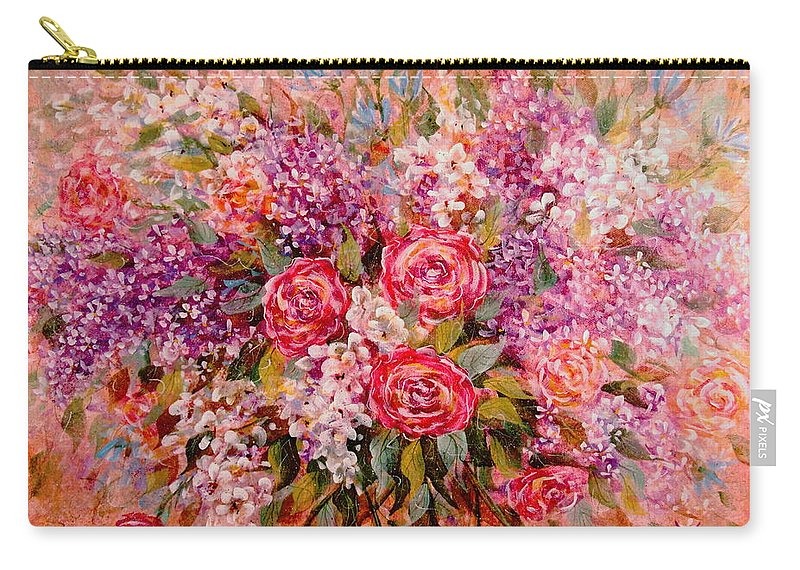Romantic Flowers Carry-all Pouch featuring the painting Flowers Of Romance by Natalie Holland