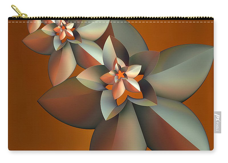 Fractal Carry-all Pouch featuring the digital art Flowers On Bronze by Deborah Benoit