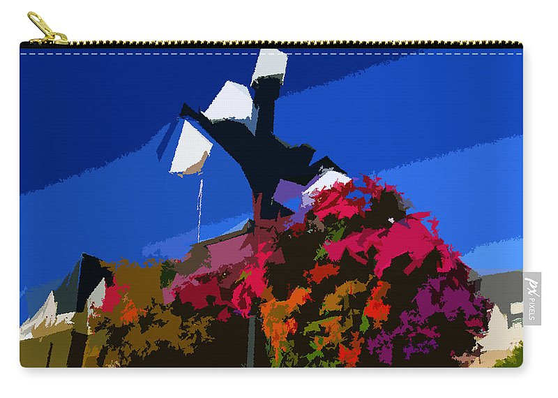 Flowers Carry-all Pouch featuring the painting Flowers On Lamppost by David Lee Thompson