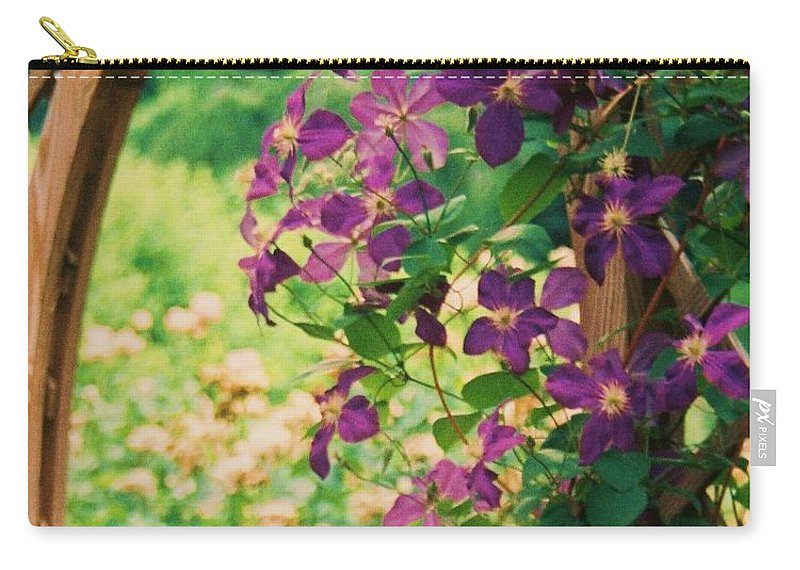 Floral Carry-all Pouch featuring the painting Flowers On Vine by Eric Schiabor