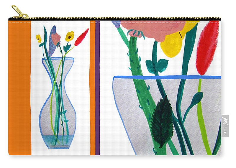Art Carry-all Pouch featuring the painting Flowers Small And Big by Lee Serenethos