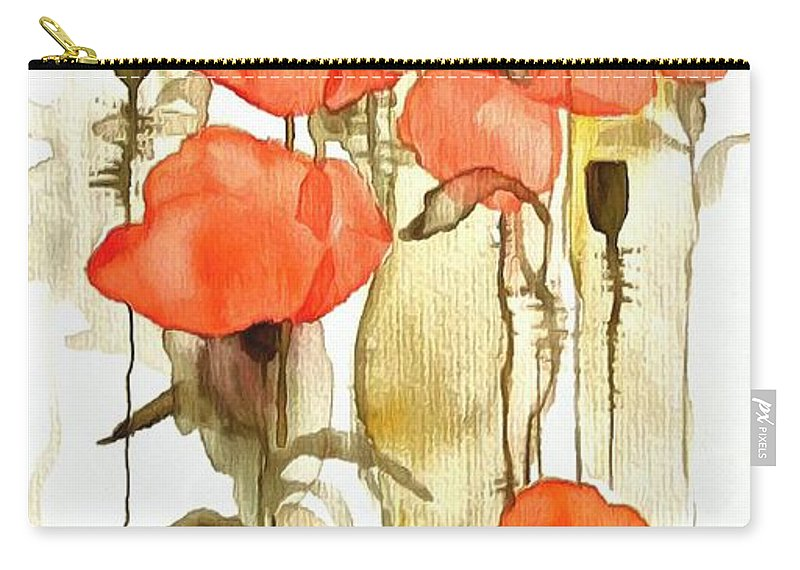 Flowers Wet Carry-all Pouch featuring the digital art Flowers Wet by Catherine Lott