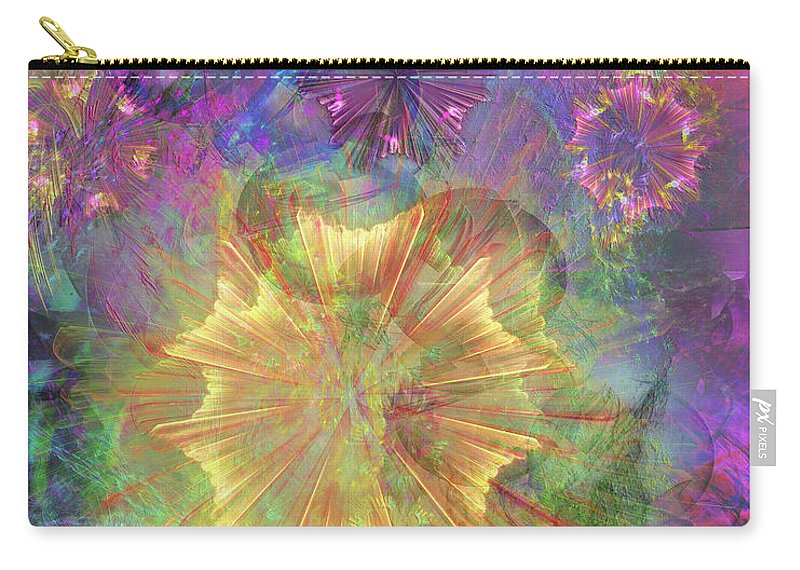 Flowerworks Carry-all Pouch featuring the digital art Flowerworks by John Beck