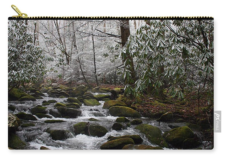 Park Winter Snow White Water Stream Creek Flow River Rock Boulder Tree Green Rush Cold National Carry-all Pouch featuring the photograph Flowing by Andrei Shliakhau