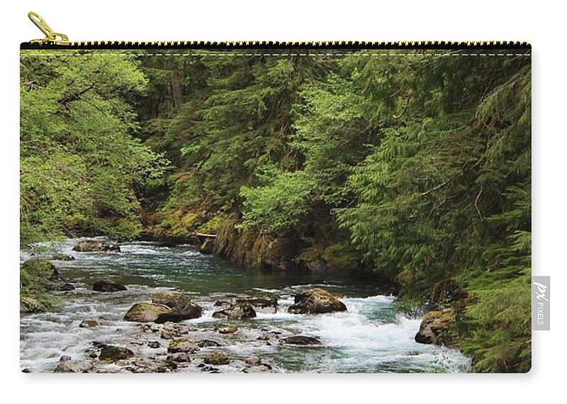River Images Carry-all Pouch featuring the photograph Flowing Through The Trees by LKB Art and Photography