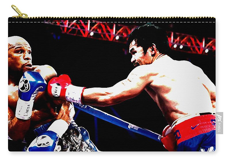 Manny Pacquiao Carry-all Pouch featuring the mixed media Floyd Mayweather And Manny Pacquiao Going At It by Brian Reaves