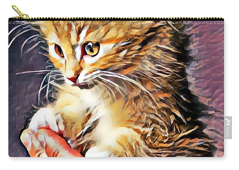 Animal Carry-all Pouch featuring the photograph Fluffy Orange Kitten by Tarisa Smith