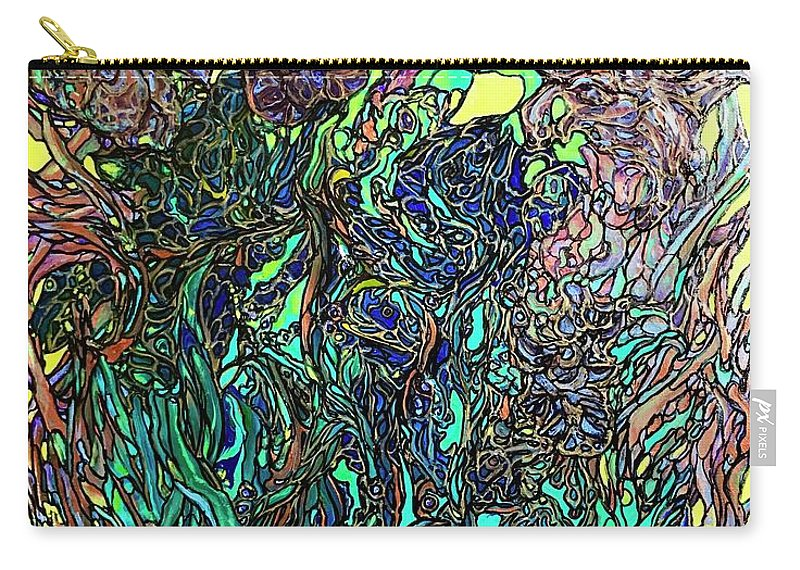 Abstract Carry-all Pouch featuring the mixed media Fluid Irises by Rae Chichilnitsky