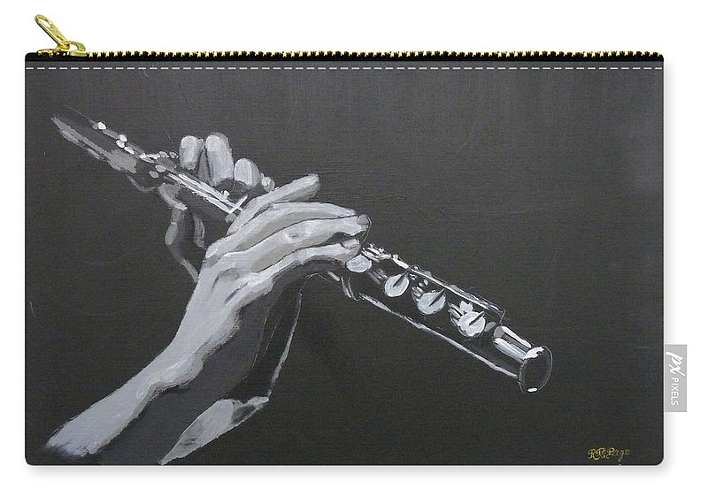 Flute Carry-all Pouch featuring the painting Flute Hands by Richard Le Page