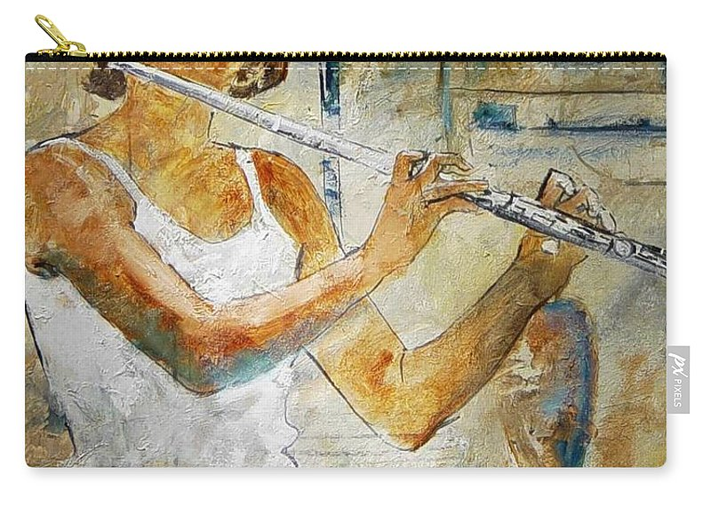 Music Carry-all Pouch featuring the painting Flutist by Pol Ledent