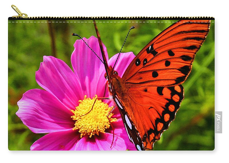 Butterfly Carry-all Pouch featuring the photograph Fritillary Flutterby by Kristin Elmquist