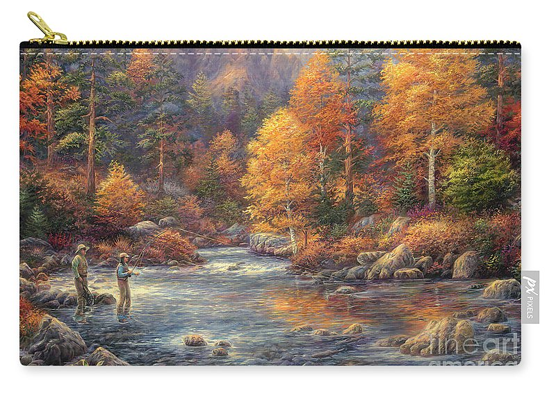 Fly Fishing Carry-all Pouch featuring the painting Fly Fishing Legacy by Chuck Pinson