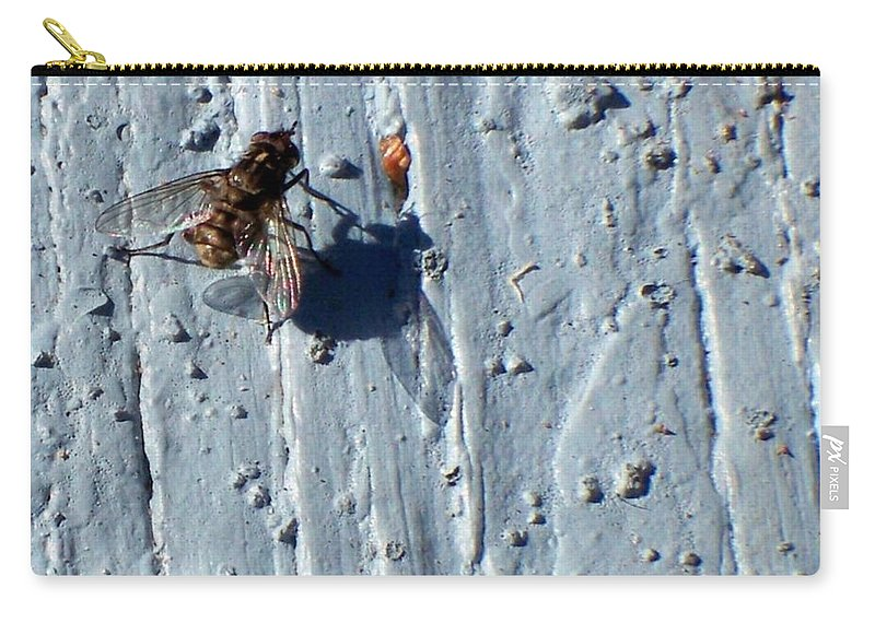 Fly Carry-all Pouch featuring the photograph Fly On The Wall by Betty Northcutt