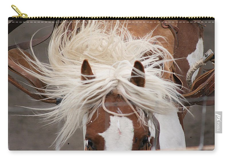 Horse Bronc Rodeo Saddle Rider Close Show Horses Wild Carry-all Pouch featuring the photograph Flyin Bronc by Andrea Lawrence
