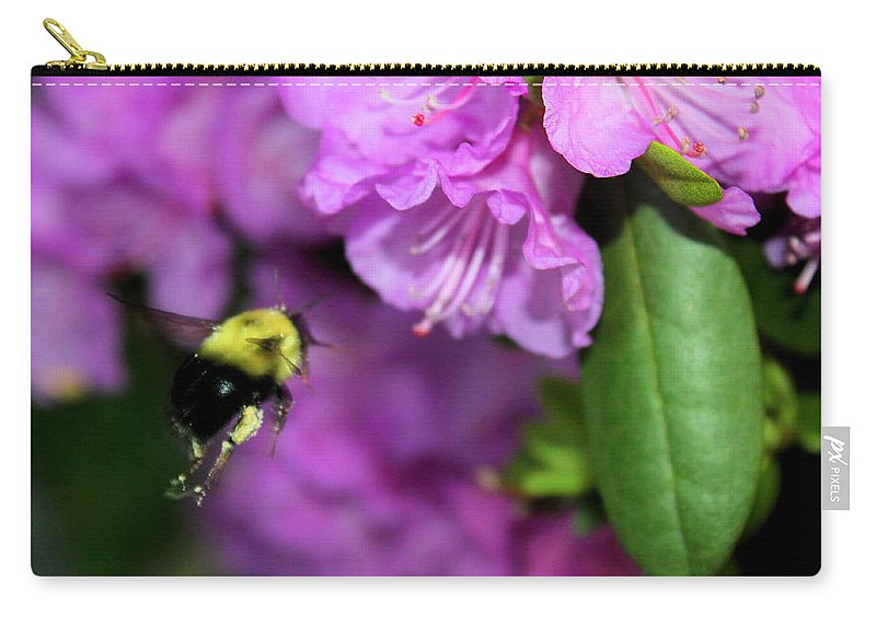 Bumble Bee Carry-all Pouch featuring the photograph Flying Bee Collecting Pollen by Anita Hiltz