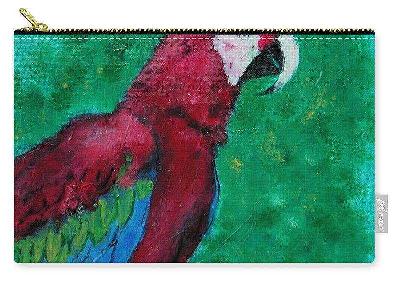 Parrot Carry-all Pouch featuring the painting Flying Colors by Cori Solomon