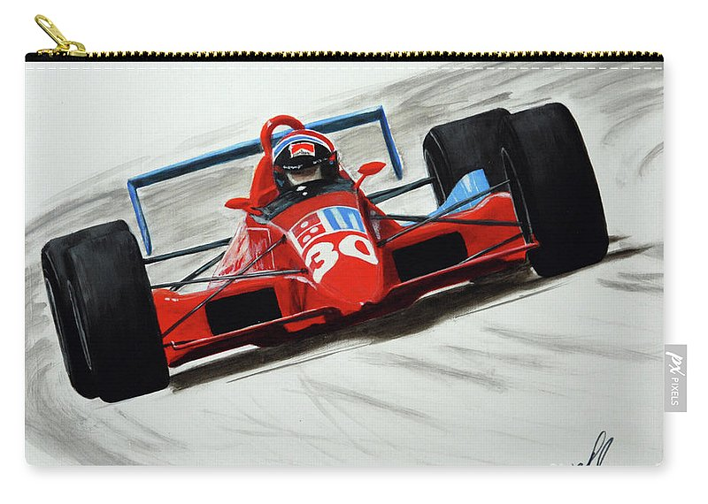 Arie Luyendyk Carry-all Pouch featuring the painting Flying Dutchman - 1990 by William Homeier