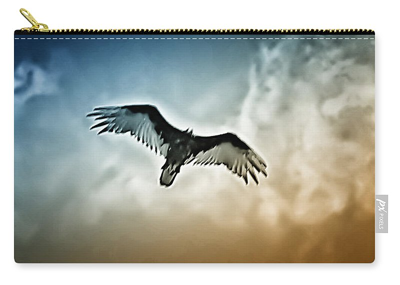 Falcon Carry-all Pouch featuring the photograph Flying Falcon by Bill Cannon