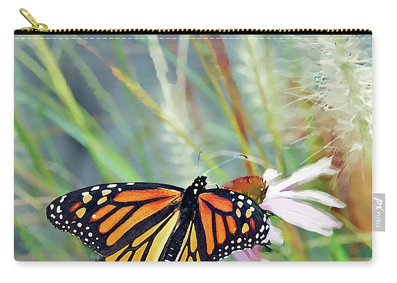 Monarch Butterfly Carry-all Pouch featuring the photograph Flying Flower by Betty LaRue