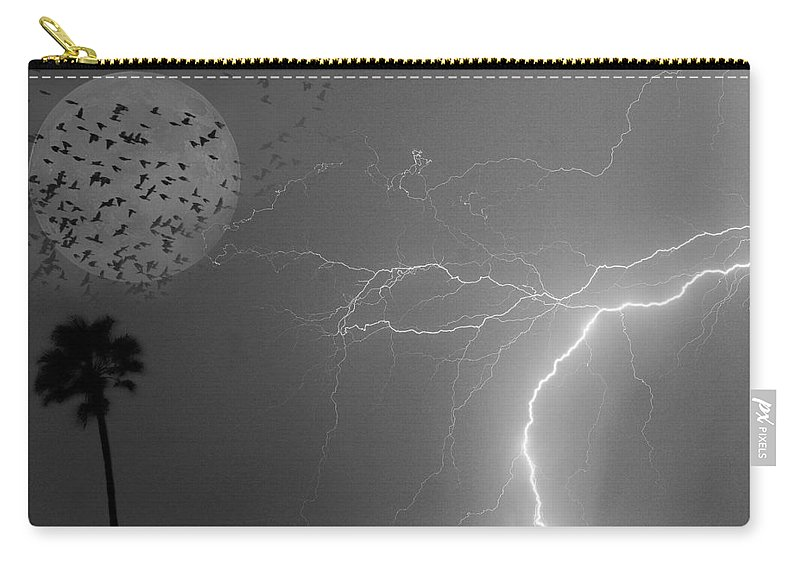 Black And White Carry-all Pouch featuring the photograph Flying From The Storm Bw by James BO Insogna