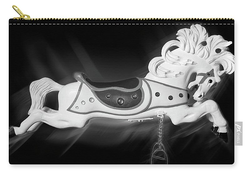 Carousel Horse Carry-all Pouch featuring the photograph Flying Horse Black And White by Kelley King