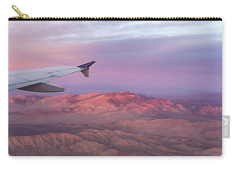 Mojave Desert Carry-all Pouch featuring the photograph Flying Over The Mojave Desert At Sunrise by Georgia Mizuleva