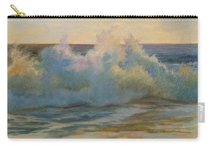 Waves Carry-all Pouch featuring the painting Foaming Ocean Waves by Phyllis Tarlow
