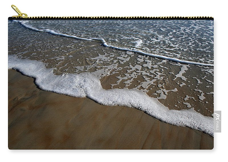 Beach Sand Wave Waves Foam Foamy White Sunny Clear Water Ocean Carry-all Pouch featuring the photograph Foamy Water by Andrei Shliakhau
