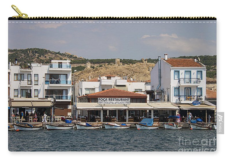 Foca Turkey City Cities Stone Cityscape Cityscapes Building Buildings Structure Structures Windmill Ruin Windmills Ruins Boat Fishing Boats Aegean Sea Seas Water Landscape Landscapes Waterscape Waterscapes Village Villages Carry-all Pouch featuring the photograph Foca Village by Bob Phillips