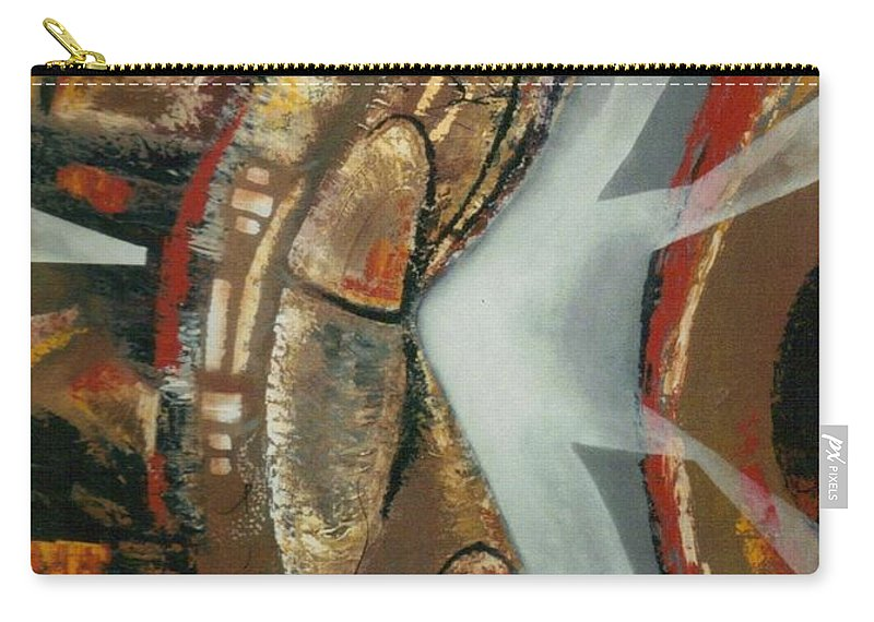African Mask Carry-all Pouch featuring the painting Focus And Determination by Hasaan Kirkland