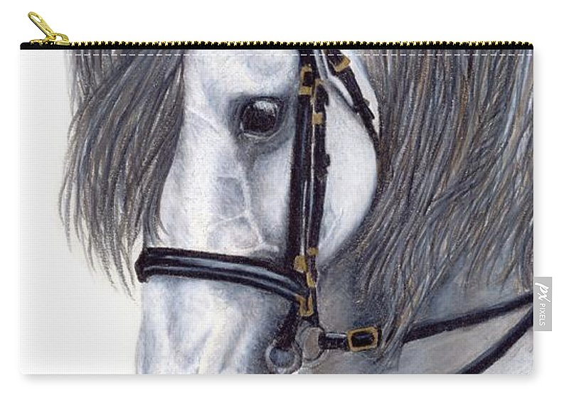 Horse Carry-all Pouch featuring the drawing Focus by Kristen Wesch