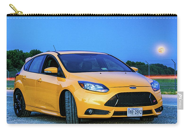 Yellow Carry-all Pouch featuring the photograph Focus On The Moon by Jeremy Clinard