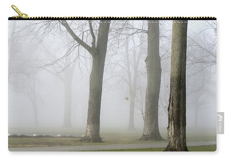 Fog Amongst The Trees Carry-all Pouch featuring the photograph Fog Amongst The Trees by Cynthia Woods