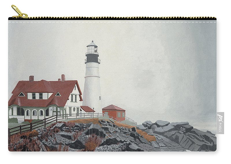 Lighthouse Carry-all Pouch featuring the painting Fog Approaching Portland Head Light by Dominic White