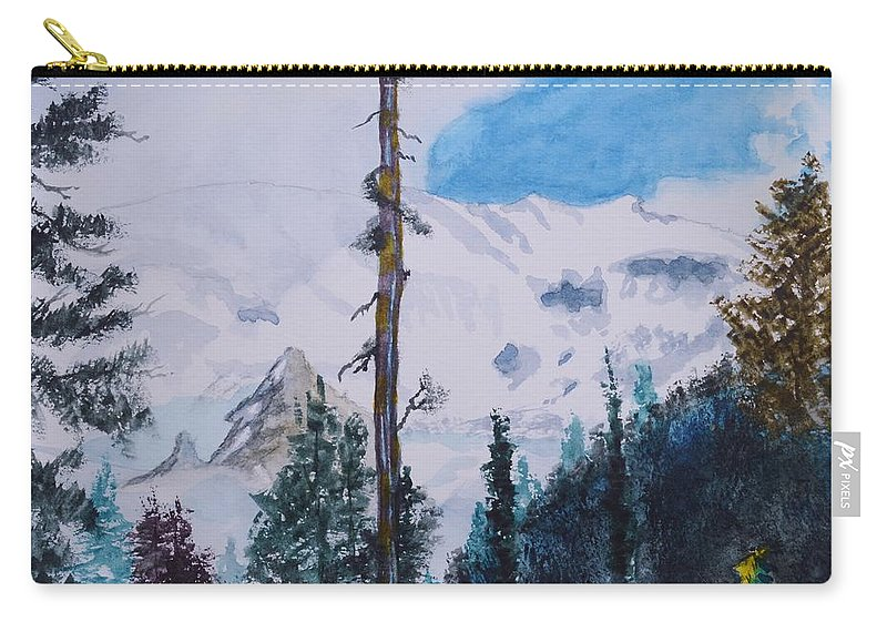 Fog On Mt. Rainer Carry-all Pouch featuring the painting Fog On Mt. Rainer by Warren Thompson