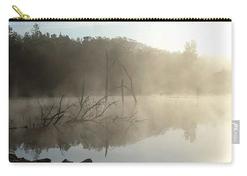 Fog On The Lake Carry-all Pouch featuring the photograph Fog On The Lake by Cynthia Woods