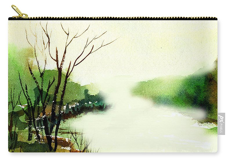 Water Color Carry-all Pouch featuring the painting Fog1 by Anil Nene