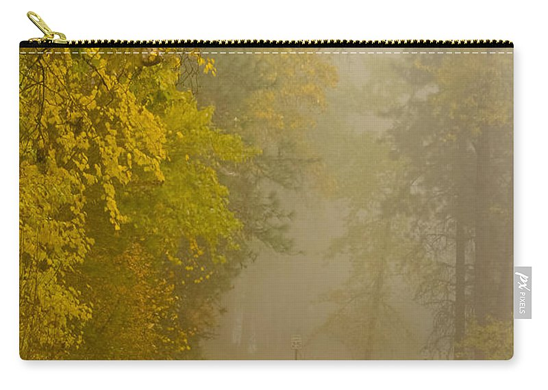 Autumn Color Carry-all Pouch featuring the photograph Foggy Autumn Morn by Albert Seger