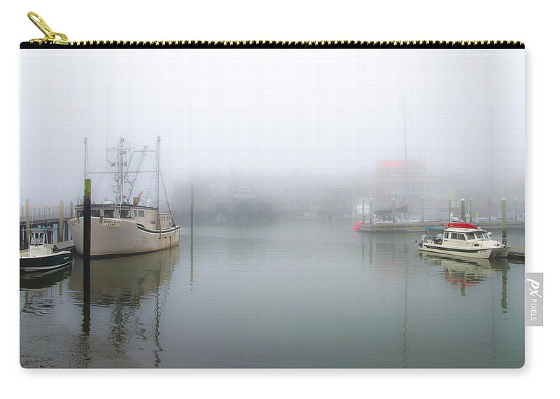 Foggy Carry-all Pouch featuring the photograph Foggy Cape May Harbor by Bill Cannon