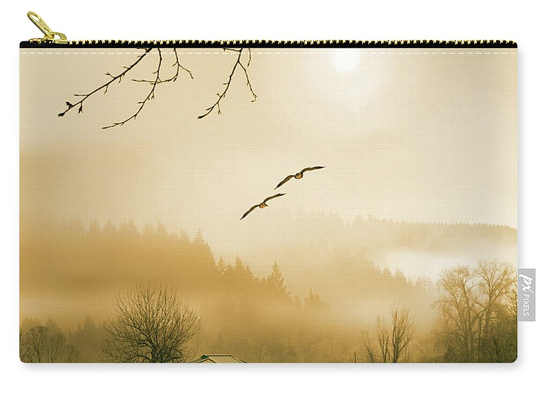 Sunlight Carry-all Pouch featuring the photograph Foggy Lake And Three Couple Of Birds by William Freebilly photography