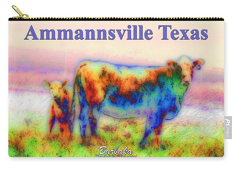 Peaceful Pastures In Ammannsville Texas Carry-all Pouch featuring the photograph Foggy Mist Cows #0090 Arty Ammannsville Texas by Barbara Tristan