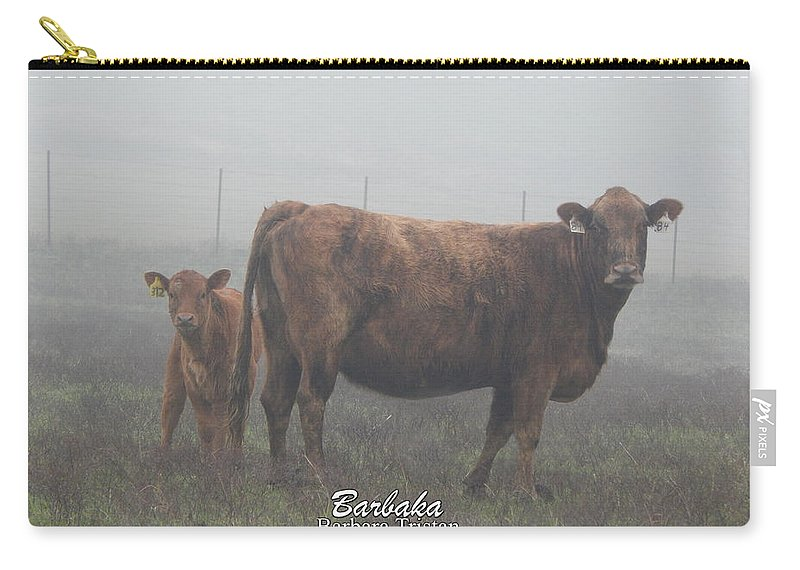 Digitally Altered Photograph Carry-all Pouch featuring the photograph Foggy Mist Cows #0090 Digitally Altered by Barbara Tristan