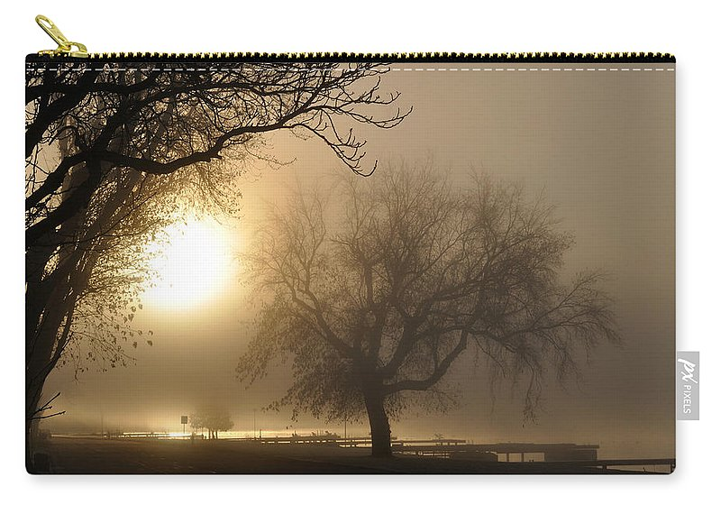 Foggy Carry-all Pouch featuring the photograph Foggy November Sunrise On The Bay by Tim Nyberg