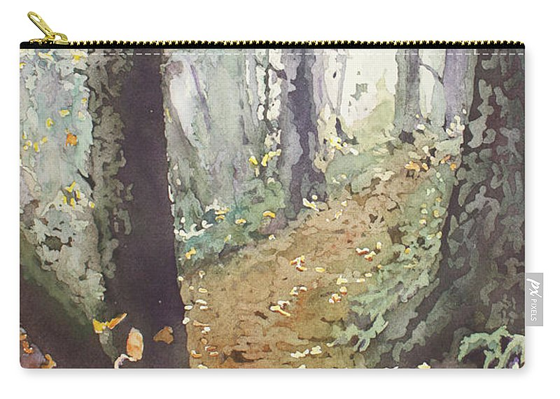 Oregon Carry-all Pouch featuring the painting Foggy Path by Jenny Armitage