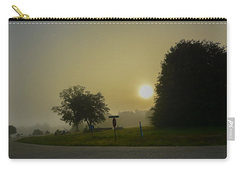 Sunrise Carry-all Pouch featuring the photograph Foggy Sunrise by James Hennis